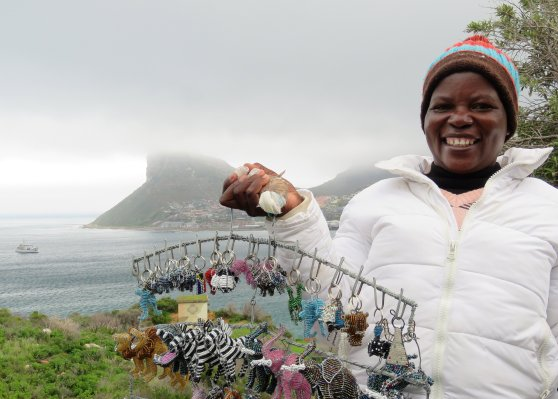 Clara and her awesome beadwork, Chapmans Peak, Di Brown
